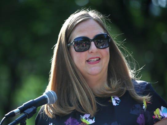Indy Parks Director Linda Broadfoot speaks during a