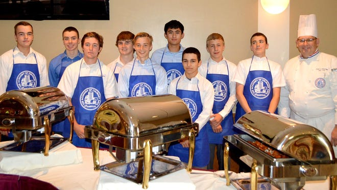 St. Augustine Preparatory School students (from left) Patrick Kavanagh of Millville, Zach Washart of Sewell, Donovan Parker of Mullica Hill, Ryan Bannon of Linwood, Chris Booth of Millville, Corey Gamboa of Vineland, Vincent Filipe of Moorestown, Daniel Kuhar Jr. of Vineland and Paul Biagi of Vineland participated in a culinary arts program for third semester.