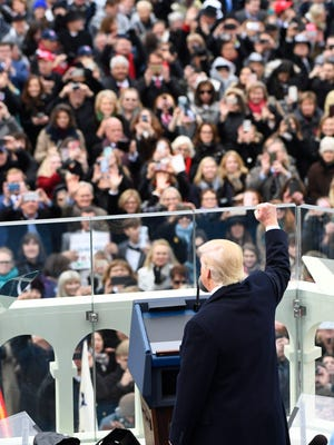 President Donald Trump delivers his inaugural address on Jan. 20, 2017.