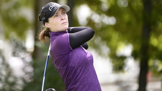 Brittany Altomare tees off on the first hole in the third round of the CP Womens Open last August in Aurora, Ontario.