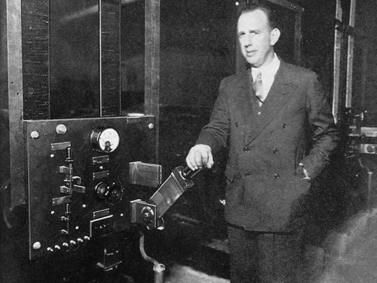 Powel Crosley Jr. in the Camp Washington factory/studio of radio station WLW.