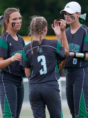 Brantley outfielders Anna Katherine Kimbro, Emory Bush and Alex Wilcox during the AHSAA Softball State Championship Tournament at Lagoon Park in Montgomery, Ala., on Wednesday May 18, 2016.