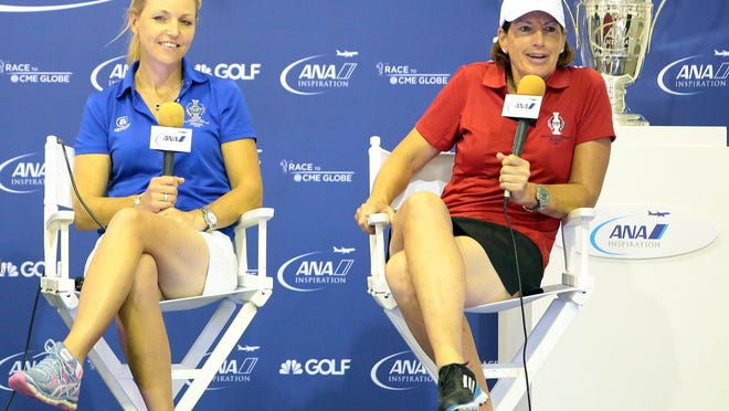 European Solheim Cup team captain Carin Koch and U.S. team captain Juli Inkster talk about their teams and the event during a press conference on Wednesday, April 1, 2015 held at Mission Hills Country Club in Rancho Mirage, Calif.