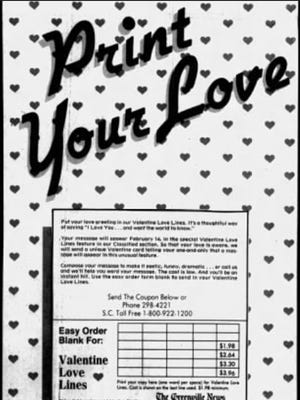 Valentine Love Lines were a special way to send a Valentine's Day greeting to the ones you loved. They were printed in The Greenville News beginning in the late 1970s.
