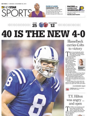 IndyStar's Sports front on Nov. 30 after Matt Hasselbeck won his fourth consecutive game in relief of an injured Andrew Luck.