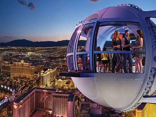 The High Roller, a Ferris wheel that takes cabins of up to 40 people more than 500 feet over the city.