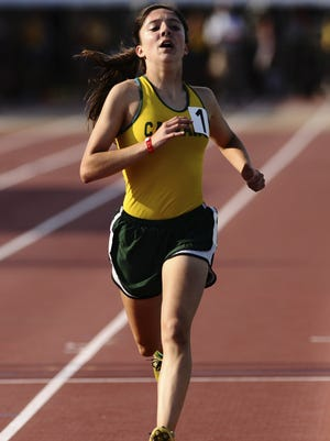 Calvary Baptist's Hailey Hesterman competes in the Class 2A girls 1600-meter run at the LHSAA's high school state athletics meet, Thursday, May 3, 2012, in Baton Rouge, La. (AP Photo/The Baton Rouge Advocate, Heather McClelland)  MAGS OUT; INTERNET OUT; NO SALES; TV OUT; NO FORNS; LOUISIANA BUSINESS INC. OUT (INCLUDING GREATER BATON ROUGE BUSINESS REPORT, 225, 10/12, INREGISTER, LBI CUSTOM)