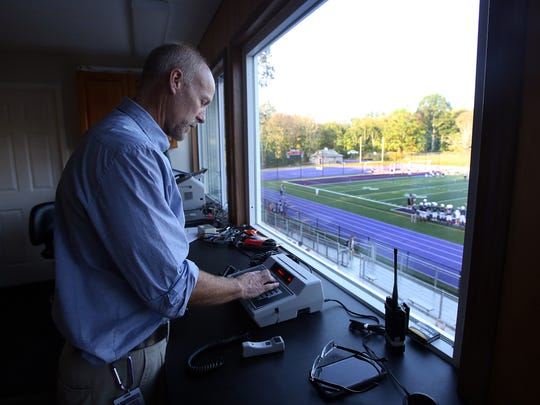 John Jay high school PA announcer Alex Smith runs the