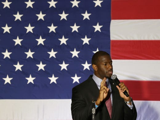 Mayor Andrew Gillum speaks during an event for the Democratic Party