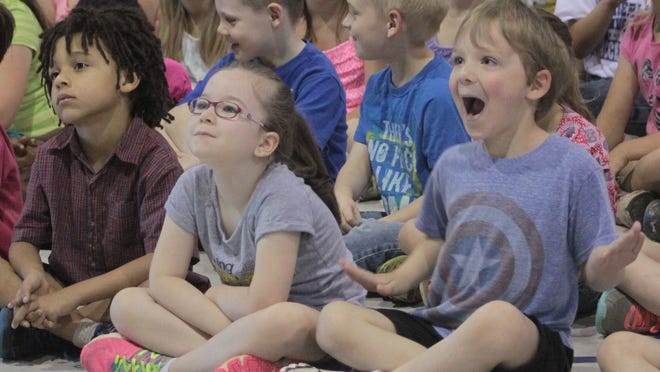 Kindergarteners at Cumberland Heights Elementary School – Ben Shenberger, Audrina Boyer and Jonathon Szymanski – had front row seats Friday for Hands on with Zig, a demonstration of percussion instruments and music genres from around the world.