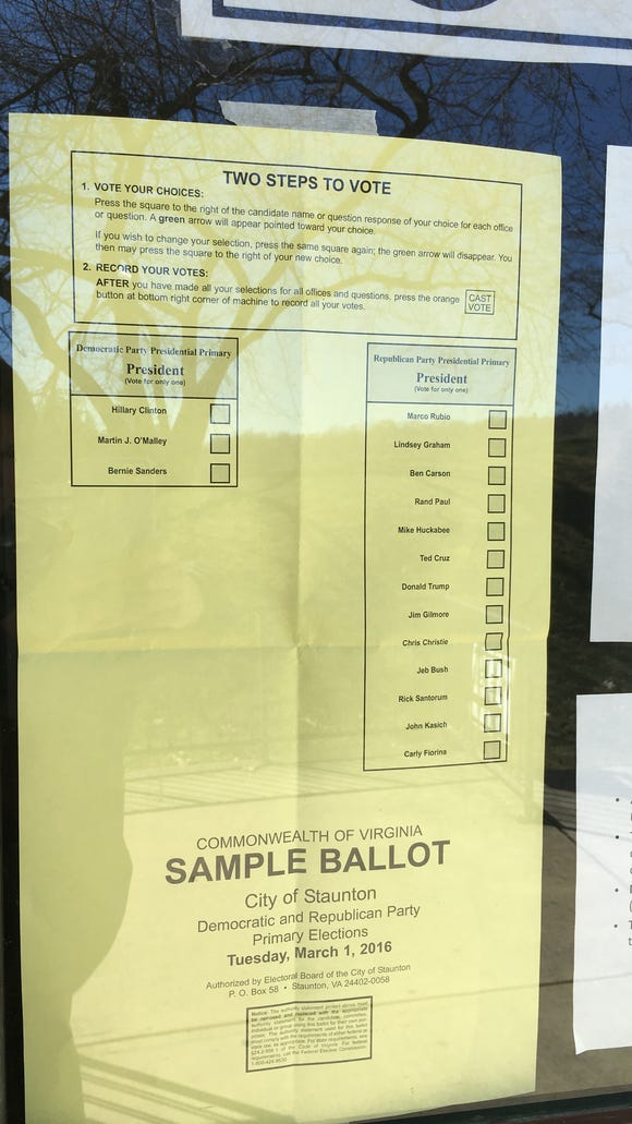 A sample ballot shown at the Gypsy Hill Park gym for
