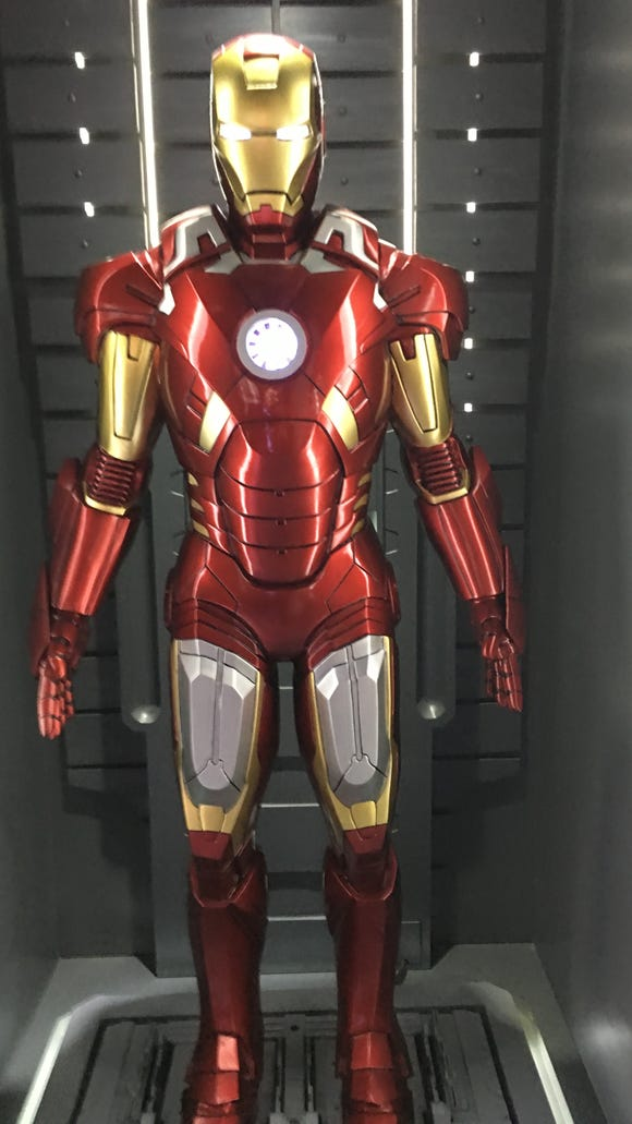 Every iteration of Iron Man's suit is on display at Marvel's Avengers S.T.A.T.I.O.N. at Treasure Island in Las Vegas.