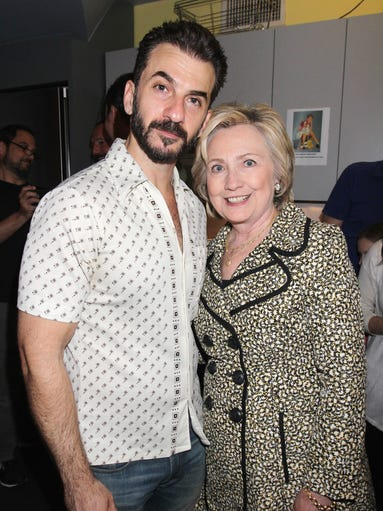 Clinton poses with 2017 Tony Winner for Best Supporting
