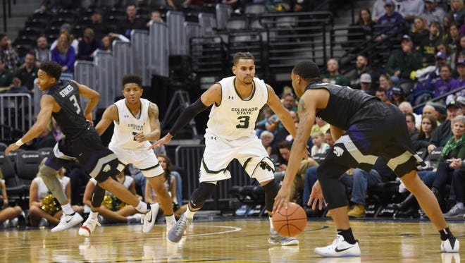 CSU guard Gian Clavell plays defense during Saturday's loss to Kansas State at the Pepsi Center in Denver. The Rams gave up a season-high 89 points in the loss.