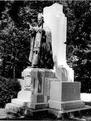Statue of Bishop Bernard McQuaid in front of the seminary on Lake Avenue.