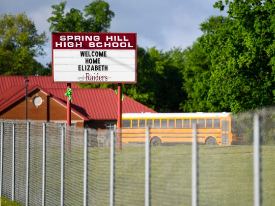 The Spring Hill High School sign welcomes Elizabeth