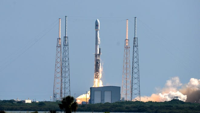 A SpaceX Falcon 9 rocket blasts off from Cape Canaveral Air Force Station at 10:29 a.m. on Wednesday, June 15, on a mission to deliver two commercial communications satellites to orbit.