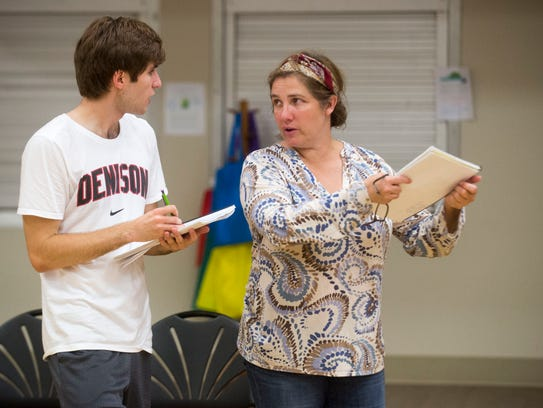 Director Amy Hubbard works with Jackson Mullins for