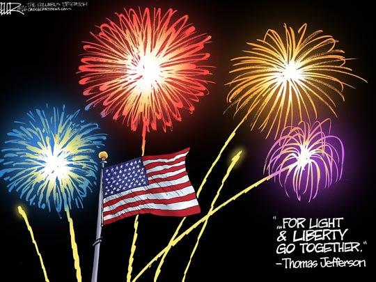 Fourth of July cartoon