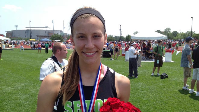 Seton's Loretta Blaut won the state title in the high jump last season, her first time competing in the sport.