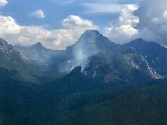 The Sprague fire burns in steep terrain in the west