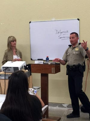 Judge D'Ann Read and Sheriff's Deputy Johnny Davis spoke to students about the realities of driving on May 4.