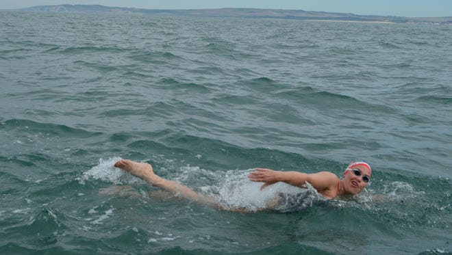 Jenny Birmelin is pictured here swimming across the English Channel in 2011.
