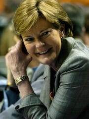 Tennessee head coach Pat Summitt smiles at her bench as the Lady Vols secure a win over Florida 92-61 in the second round of the 2008 Women's SEC Tournament at Sommet Center in Nashville, TN Friday. The Lady Vols advance to the third round.