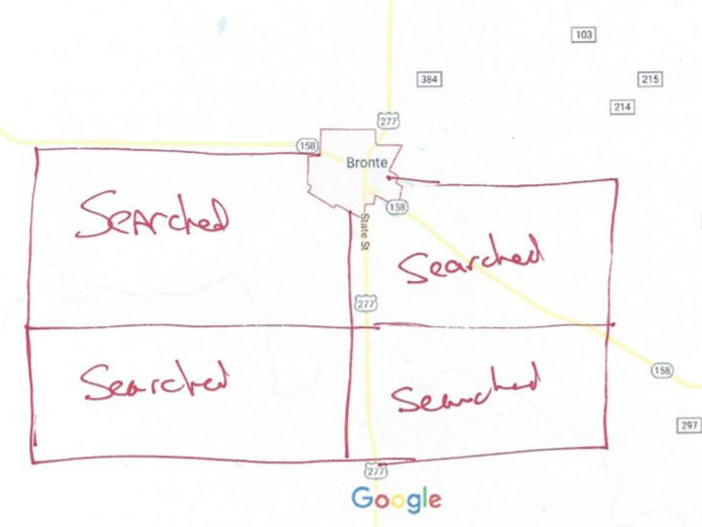 A map showing the areas that Paula Boudreaux, a private investigator, has cleared using recovery dogs in her efforts to locate Brandon Lawson.