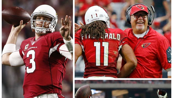 Left: Cardinals quarterback Carson Palmer. Top right: Cardinals receiver Larry Fitzgerald and coach Bruce Arians. Bottom: Safety Tyrann Mathieu.