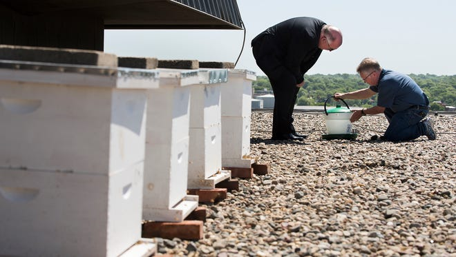 Paul Tunakan (left) Director of Sales and Marketing for the Cornhusker Marriott, and Warren Nelson, owner of Valhalla Bee Farm, set up a water station for the bees residing in four bee hives on the roof of the hotel. The rooftop of the hotel is expected to be home to about 240,000 honey-producing bees.