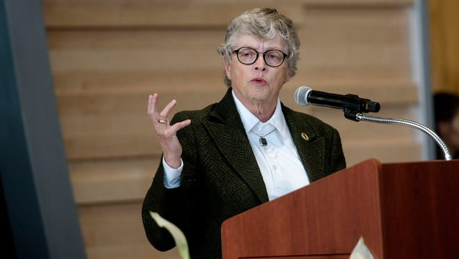 Michigan State University President Lou Anna Simon speaks during the Gilbert Pavilion and Tom Izzo Hall of History dedication on Friday, Oct. 20, 2017, at the Breslin Center in East Lansing.
