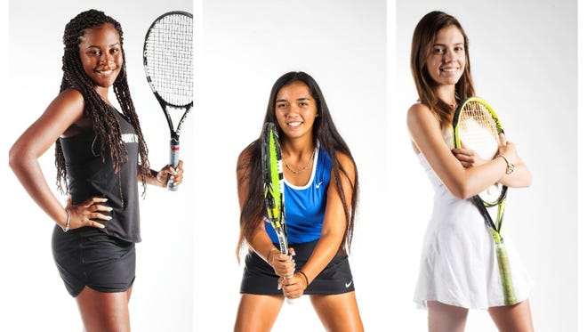 The finalists for The News-Press All-Area Girls Tennis Player of the Year are (from left) Shani Idlette, Emily Javedan, and Marina Lombardo.