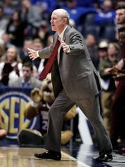 Mississippi State head coach Ben Howland watches the action in the first half of an NCAA college basketball game against Tennessee at the Southeastern Conference tournament Friday, March 15, 2019, in Nashville, Tenn. (AP Photo/Mark Humphrey)