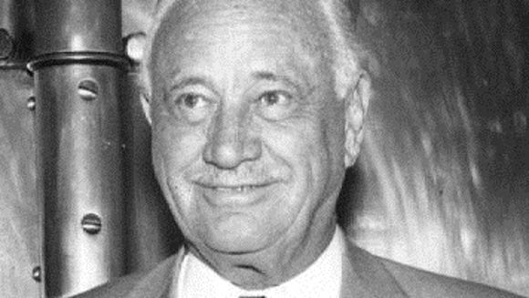 A 1958 photo of Conrad Hilton at the annual shareholders'