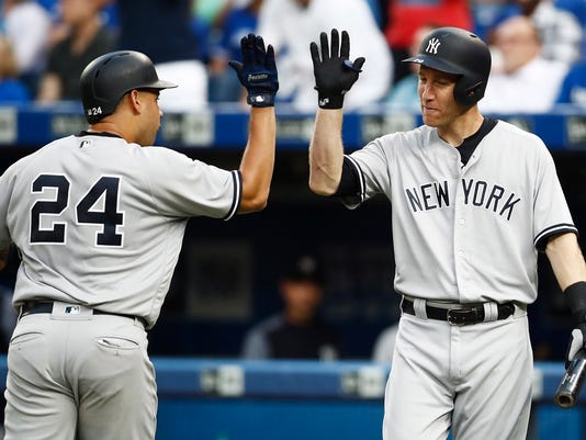 New York Yankees' Gary Sanchez (24) is congratulated by teammate Todd Frazier (29) after hitting a solo home run against the Toronto Blue Jays during the second inning of a baseball game in Toronto, Wednesday, Aug. 9, 2017. (Mark Blinch/The Canadian Press via AP)