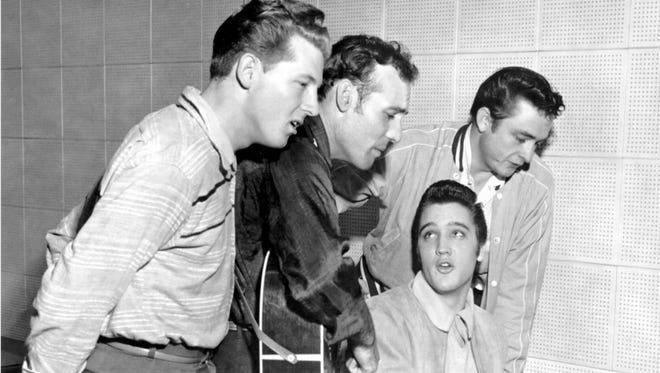 The original Million Dollar Quartet: Elvis Presley is at the piano with (from left) Jerry Lee Lewis, Carl Perkins and Johnny Cash.