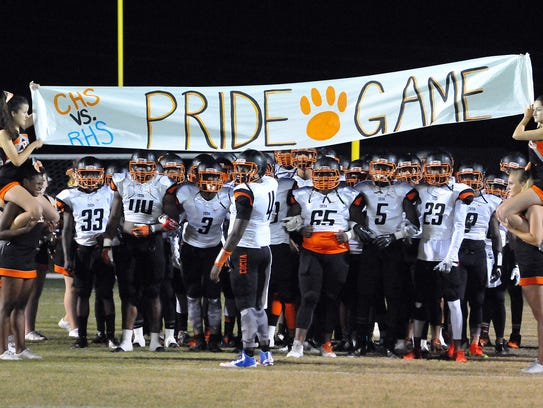 Cocoa High players get ready to take the field during a previous Barbecue Bowl game against Rockledge at McLarty Stadium.