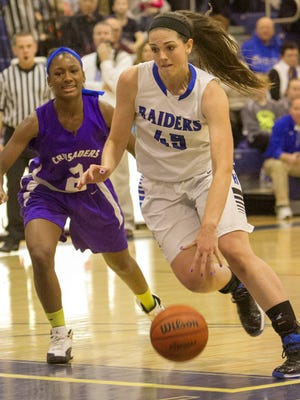 Horseheads' Amanda Schiefen drives to the basket early in the season against Catholic Central.