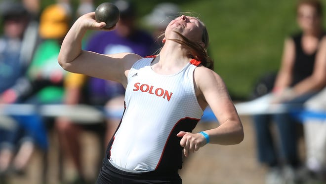 Solon senior Shelby Gunnells launches the shot put in a state track and field championship effort in Class 3A during the 2015 Iowa state track and field meet on Friday, May 22, 2015, at Drake Stadium in Des Moines, Iowa.