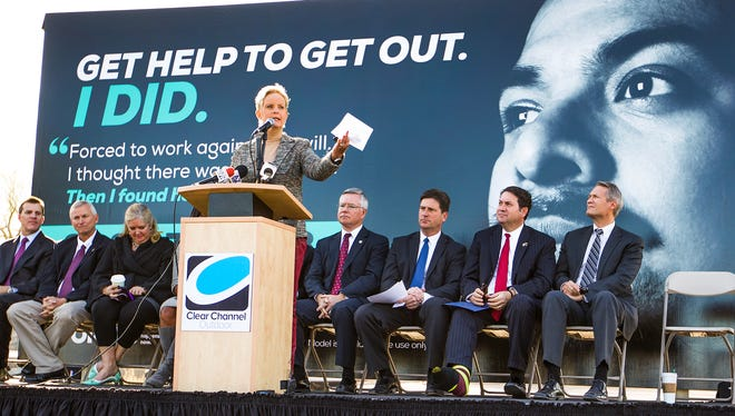 Cindy McCain speaks at a press conference on the topic of sex trafficking in Phoenix, Wednesday, January 7, 2015.