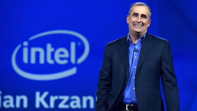 Intel Corp. CEO Brian Krzanich delivers a keynote address at the 2015 International CES.
