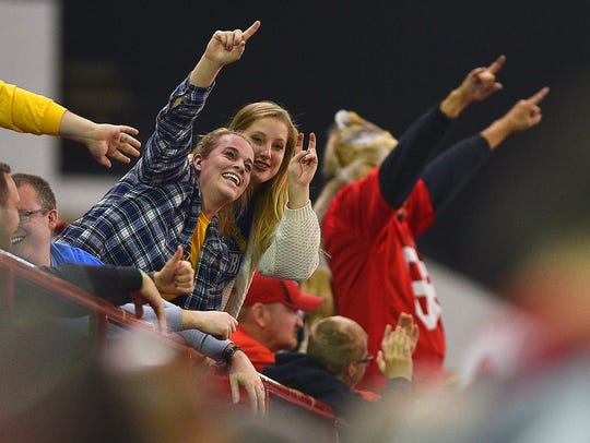 SDSU fans cheer during the game against USD Saturday,