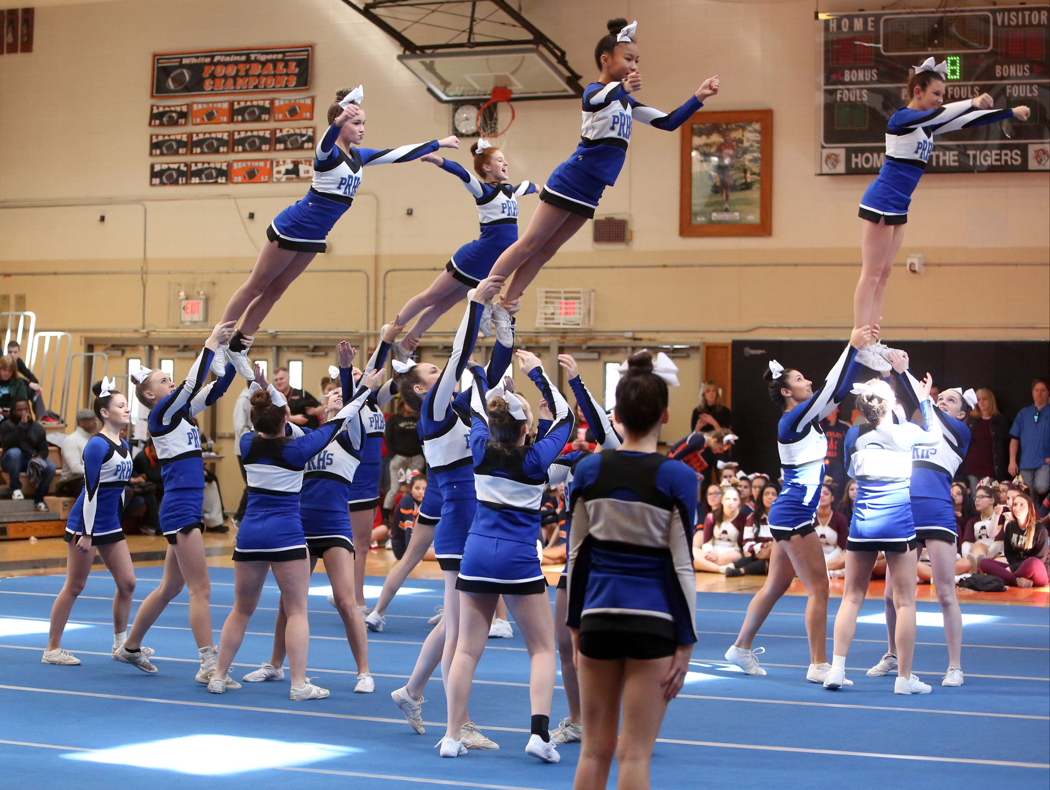 Pearl River High School cheerleaders perform during the Section One Cheerleading Finals 2016 at White Plains High School, Feb. 27, 2016.
