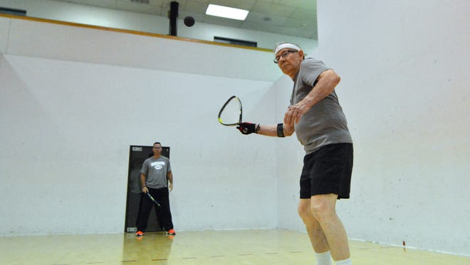 Richard Cheney, 85, will be heading to Phoenix, Arizona next week to compete in the Men of October racquetball tournament for his fourth time. Thursday, October 13, 2016. John A. Pavoncello photo