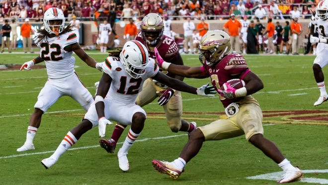 Florida State freshman running back Cam Akers ran for 121 yards on 20 carries during the Seminoles 24-20 loss to Miami on Saturday afternoon at Doak Campbell Stadium.