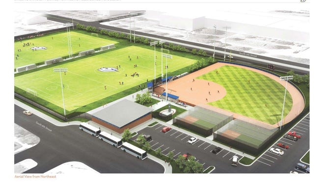 This artist's rendering shows planned soccer fields and a baseball field.