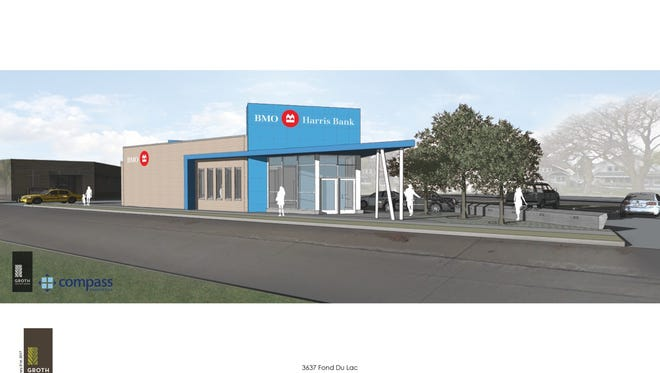 BMO Harris Bank said Thursday it plans to build a new branch to replace one set ablaze last summer in Sherman Park. This is a rendering of the planned branch.