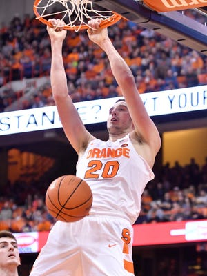 Syracuse Orange forward Tyler Lydon dunks the ball during the first half of a game against the North Florida Ospreys at the Carrier Dome on Dec. 3.