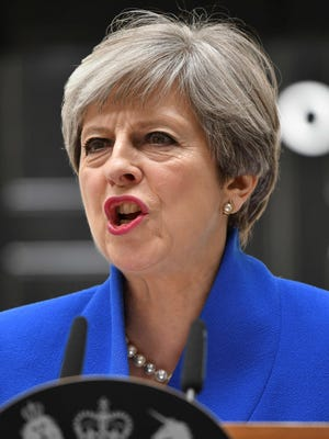 Britain's Prime Minister and leader of the Conservative Party Theresa May